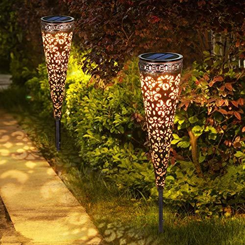 Görvitor Görvitor Tuinverlichting op zonne-energie, metaal, 2 stuks, voor buiten, tuin, tuin, tuin, warmwit…