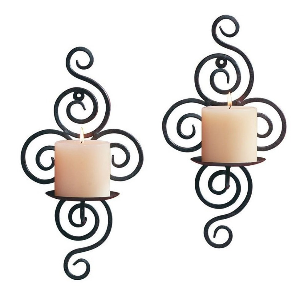 Sziqiqi Home Candlestick Holders Handmade Iron Hanging Wall Sconce Candle Holder Shelf Furnishing Articles Decoration (Candle Holder 3#)