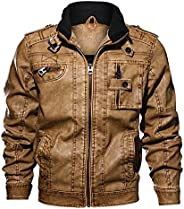 TOSKIP Men's Washed Leather Jacket Multi Pockets Retro Faux Leather Ja
