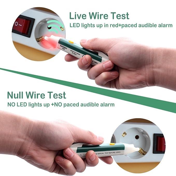 Probador de voltaje sin contacto con el modo de alarma de linterna Led Detector de voltaje seguro de alta precisión del sensor de pluma 90-1000V Ac para el ...