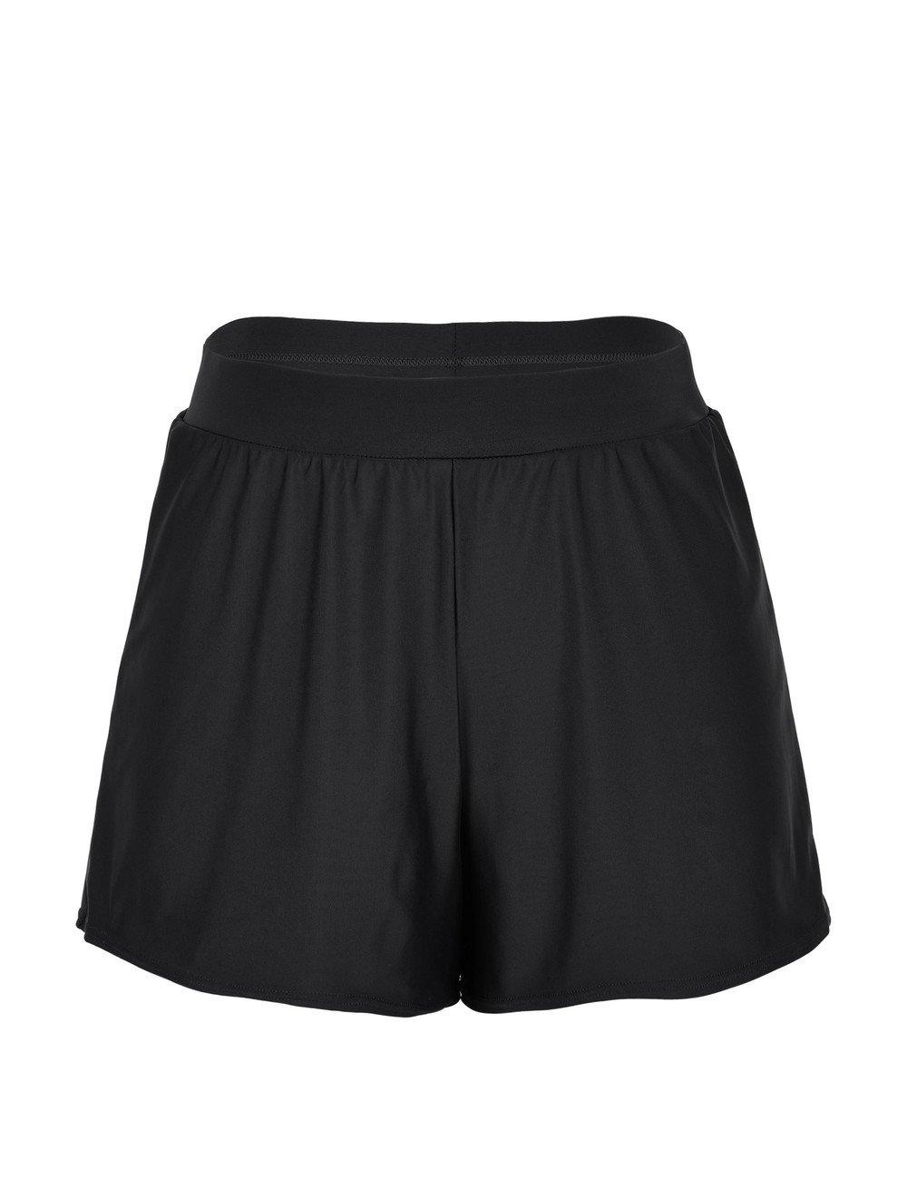 ninovino Women's Boardshorts A-Line Loose Swim Shorts With Briefs Black US12