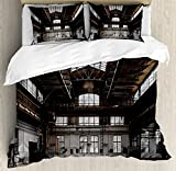 Industrial Decor Duvet Cover Set Queen Size by Ambesonne, Inside a Hangar Old Architecture Construction Urban Timeworn Windows, Decorative 3 Piece Bedding Set with 2 Pillow Shams, Brown White Grey