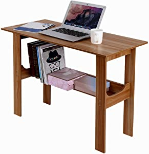 Home Desktop Computer Desk Bedroom Laptop Study Table Office Desk Workstation,Large Office Desk Computer Table,Easy to Assemble (Brown 39.4inch)