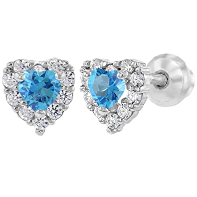 55018bb1d 925 Sterling Silver Blue Clear CZ Heart Screw Back Baby Girl Earrings  Infants: Amazon.co.uk: Jewellery