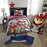 Super Mario Bros Twin Comforter, Sheets + BONUS SHAM (5 Piece Bed In A Bag) + HOMEMADE WAX MELTS