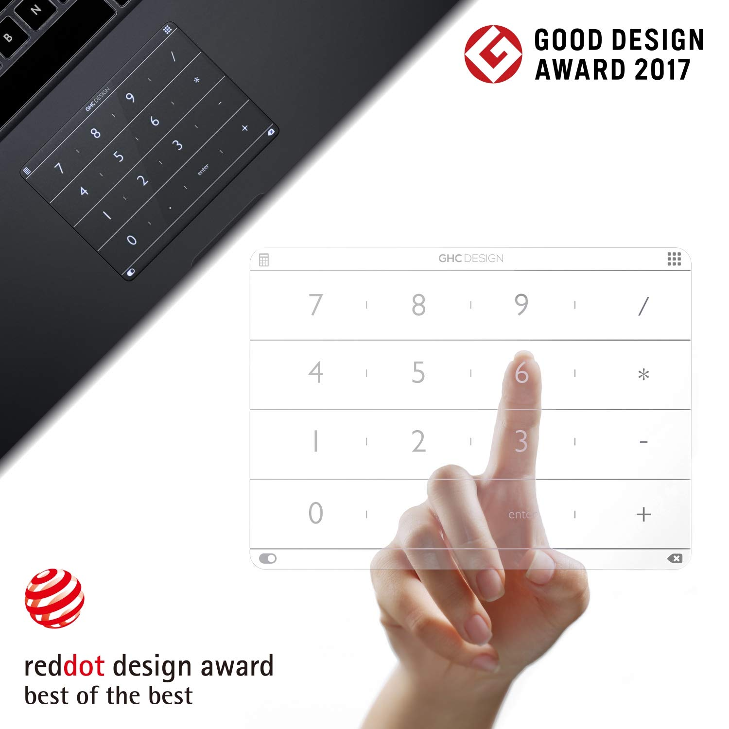 Nums Numeric Keypad for MacBook, Wireless Number Pad Calculator, App/Web/Folder Swift Launch Funtion, Trackpad Protector for New MacBook Pro 13'' 2016-2018 Version