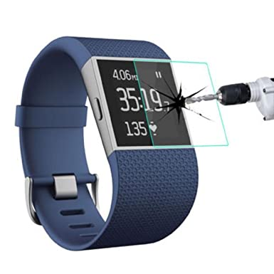Reloj inteligente Fitbit Surge Protector de pantalla, Lookatool película de cristal templado a prueba de