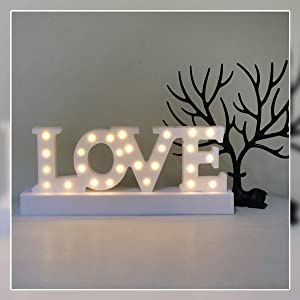 GUOCHENG Love Letter Decor Light LED Alphabet Marquee Light Sign Home Decorative Mood Table Lamps for Bedroom Children Kids Room Nursery Everyday Indoor Motif Decor