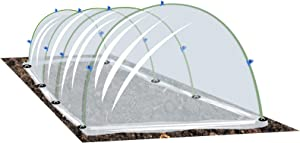 Growsun Garden Tunnel Plant Cover w/Arch Shape, Poly Vegetable Greenhouse Hoops PE Film Tunnels Outdoor Grow, Garden Staples and Clips Include