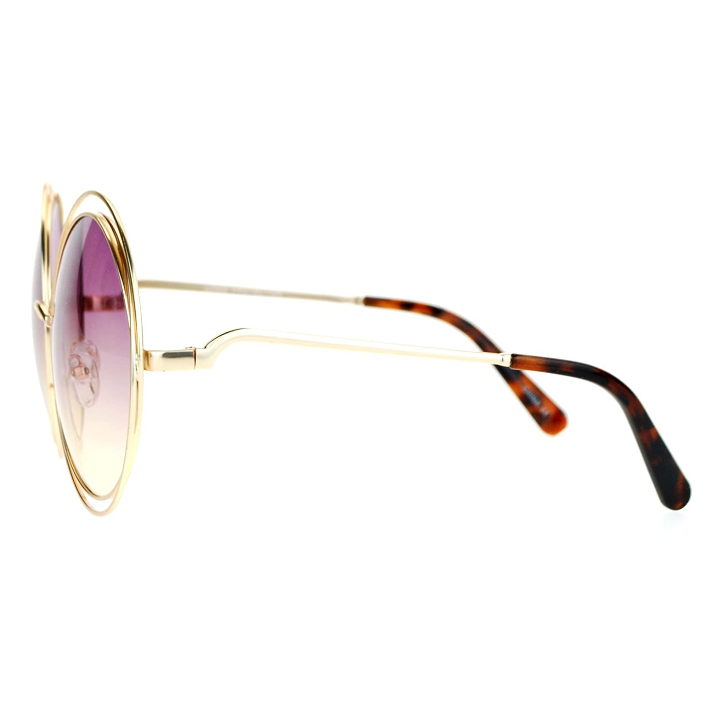 82f6adf793 Amazon.com  SA106 Oceanic Color Lens Large Round Circle Double Wire Rim  Sunglasses Blue Pink  Clothing