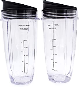 Replacement Blender Cup with Lid (2 Pack) 24 Oz Cups For Ninja Auto iQ BL480 BL482 BL642 NN102 BL682 BL450 BL2013 Ninja Blender Auto iQ Blade