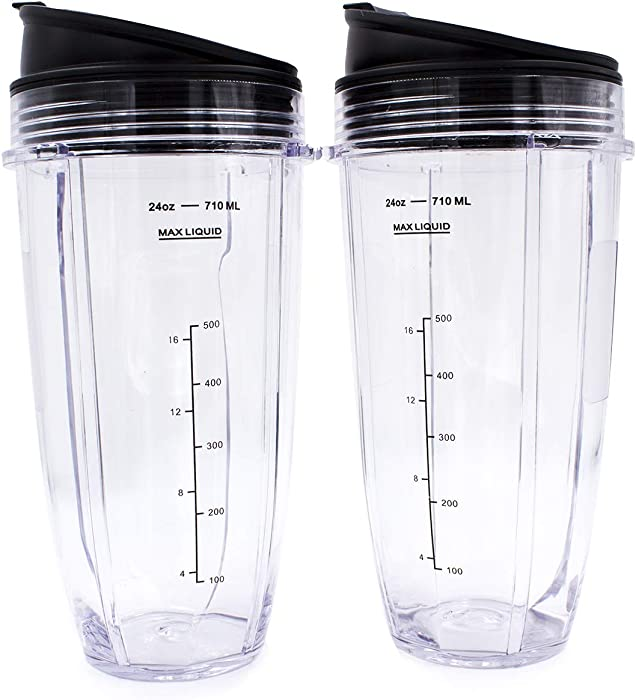 Replacement Blender Cup with Lid (2 Pack) 24 Oz Cups For Nutri Ninja Auto iQ BL482 BL642 NN102 BL682 BL2013 Nutri Ninja Blender Auto iQ Blade