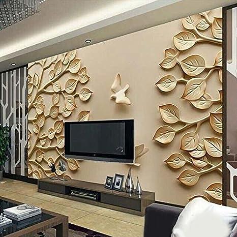 Kayra Decor Golden Leaf 3d Wallpaper Print Decal Decor Multicolour 78x142inch