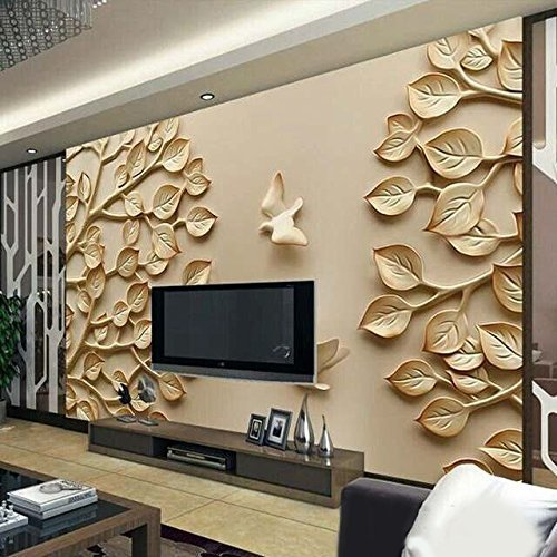 Kayra Decor Golden Leaf 3d Wallpaper Print Decal Decor Multicolour 78x142inch