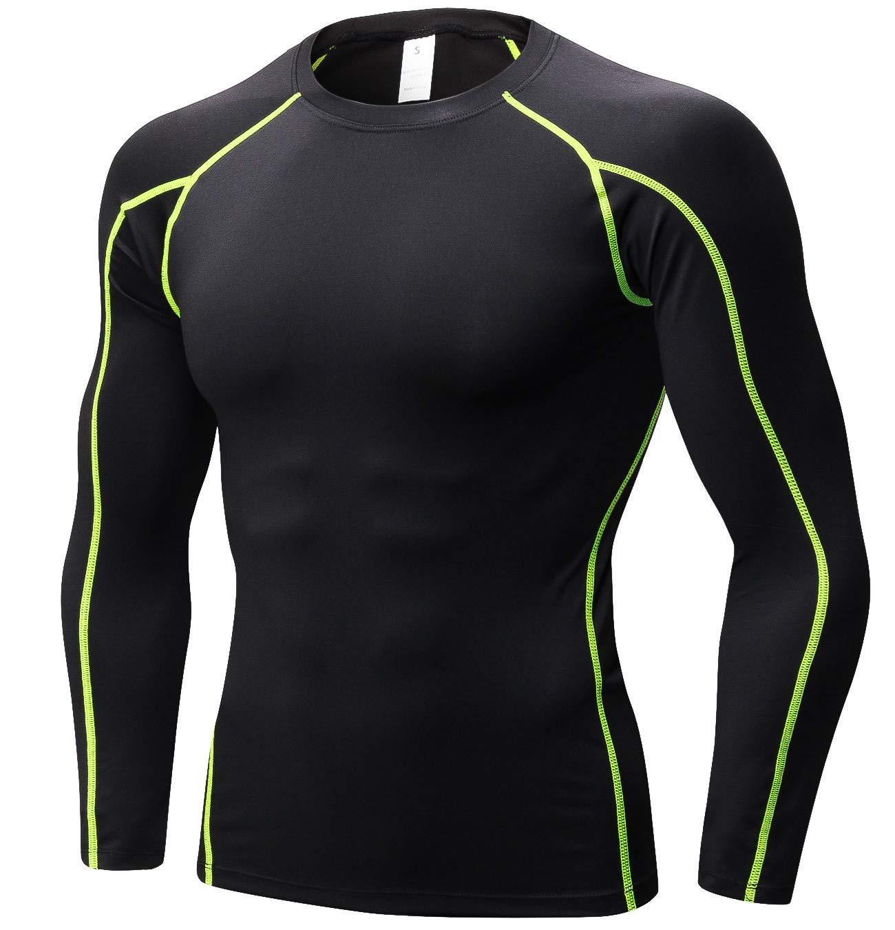 SILKWORLD Men's Long-Sleeve Compression Shirt Base-Layer Running Top,Black(Green Stripe), S by SILKWORLD (Image #1)