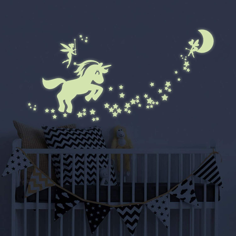 Unicorn Glow in The Dark Wall Stickers, Fairytale Fairy Glow in The Dark Stars Wall Decals for Girls Bedroom akeke