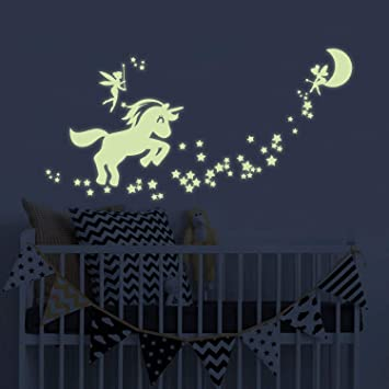 Unicorn Glow in The Dark Wall Stickers, Fairytale Fairy Glow in The Dark  Stars Wall Decals for Girls Bedroom