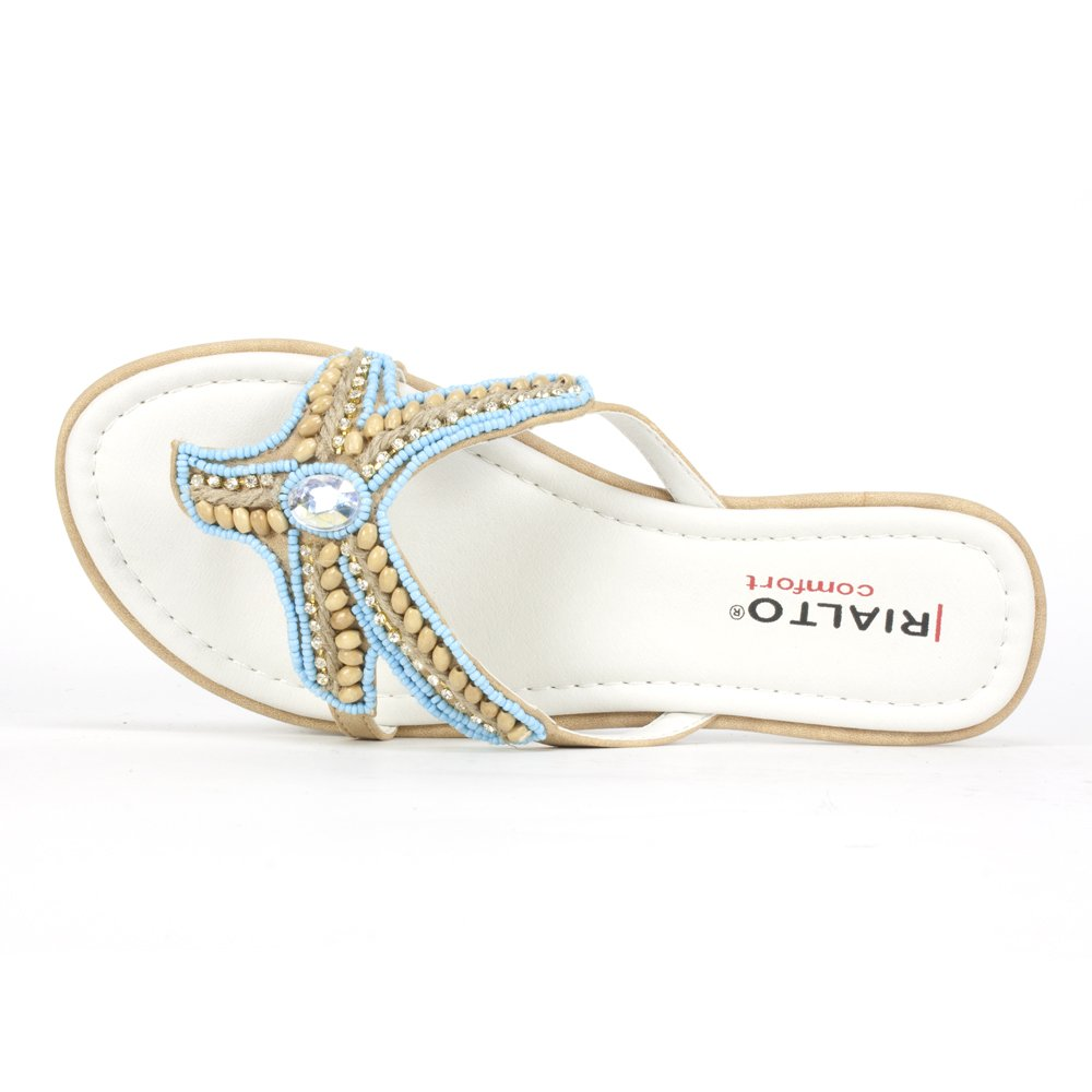 Women's Aqua Beaded Starfish Natural Sandal - DeluxeAdultCostumes.com