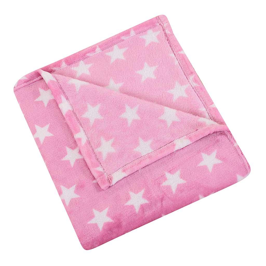 HYSEAS Velvet Plush Throw, Home Fleece Throw Blanket, 50x60 Inches, Pink Star