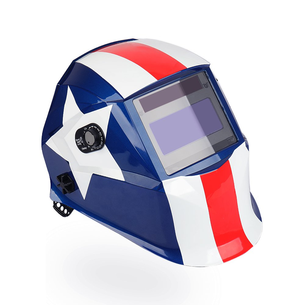 LEANINGTECH PATRIOT ATX01 Solar Power Auto Darkening Adjustable Headband,Welding Helmet, Large View Area, Wide Shade Range DIN 4-8/9-13, Face Protector for Arc Tig Mig Grinding Plasma Cutting