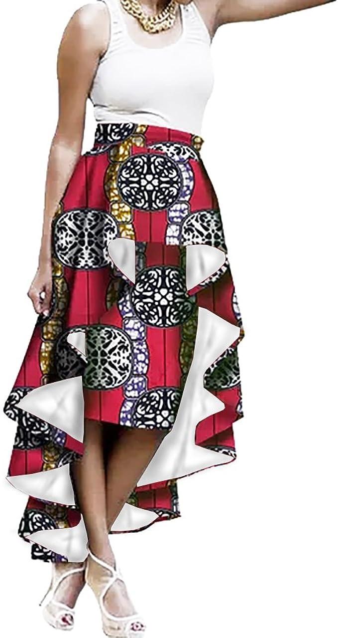 Amazon Com Liyuandian Womens African Print High Waisted Skirts Dashiki High Low Asymmetrical Long Maxi Skirt Clothing