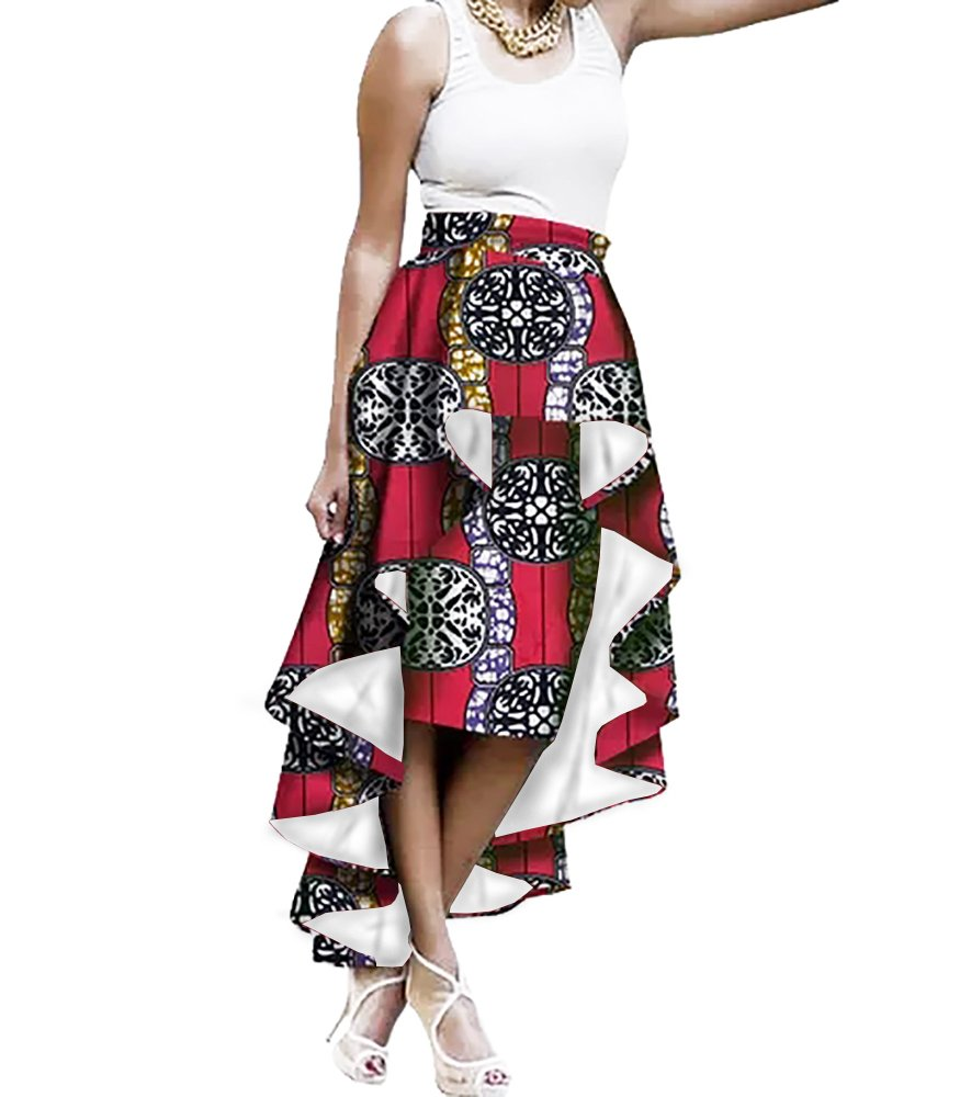 Liyuandian Womens African Print High Waisted Skirts Dashiki High Low Asymmetrical Long Maxi Skirt
