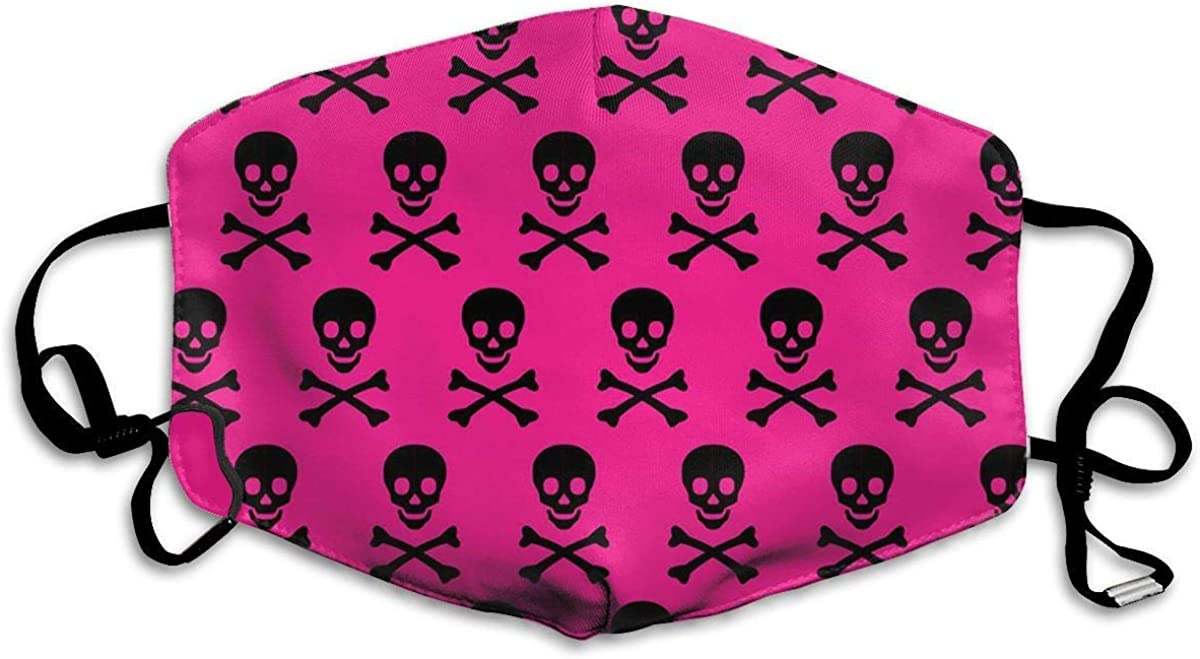 dgffgf Ma-s/&k Mas-que,Cover Custom Hot Pink Skull Crossbones Washable and Reusable Warm Windproof for Women Men Boys Girls Kids