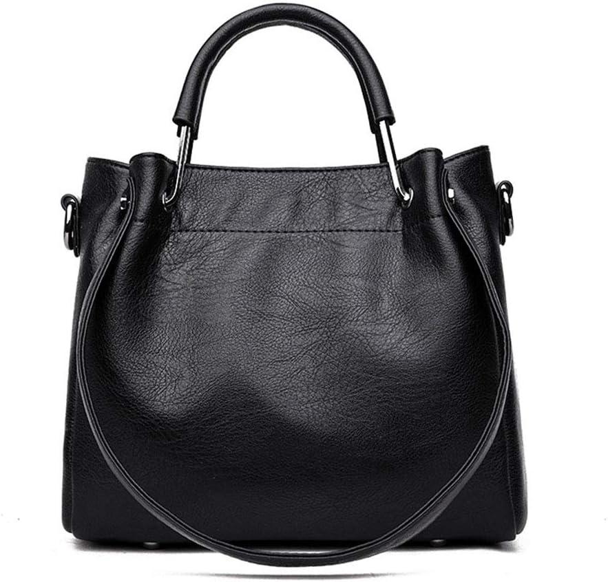 Bolso de Hombro para Mujer Bolso Casual de Hombro para Mujer Bolso Retro con Forma de Cubo Bolsa multifunción (Color : Gray) Black