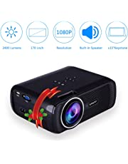 "EstgoSZ LED Video Projector Mini Full HD Portable Projector 2400 Lumens 1080P 170"" Big Display Multimedia Home Theater Movie Projector"
