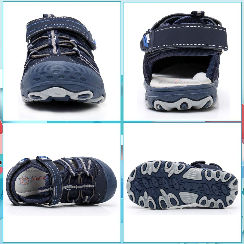 Ahannie Boys Outdoor Sport Sandals,Toddler/Little Kid Closed Toe Summer  Beach Sandals