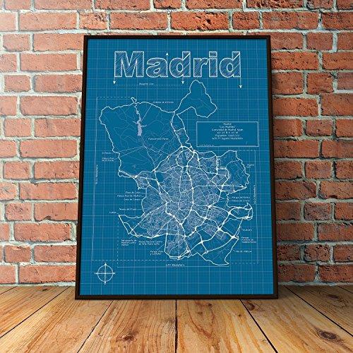 Madrid, Spain Map - Blueprint Style