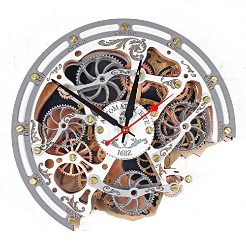 Automaton Bite 1682 White HANDCRAFTED moving gears wall clock by WOODANDROOT transparent steampunk wall clock, unique, personalized gifts, anniversary gift, large wall clock, home decor Review