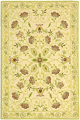 Safavieh Chelsea Collection HK330B Hand-Hooked Ivory and Green Premium Wool Area Rug 3'9″ x 5'9″