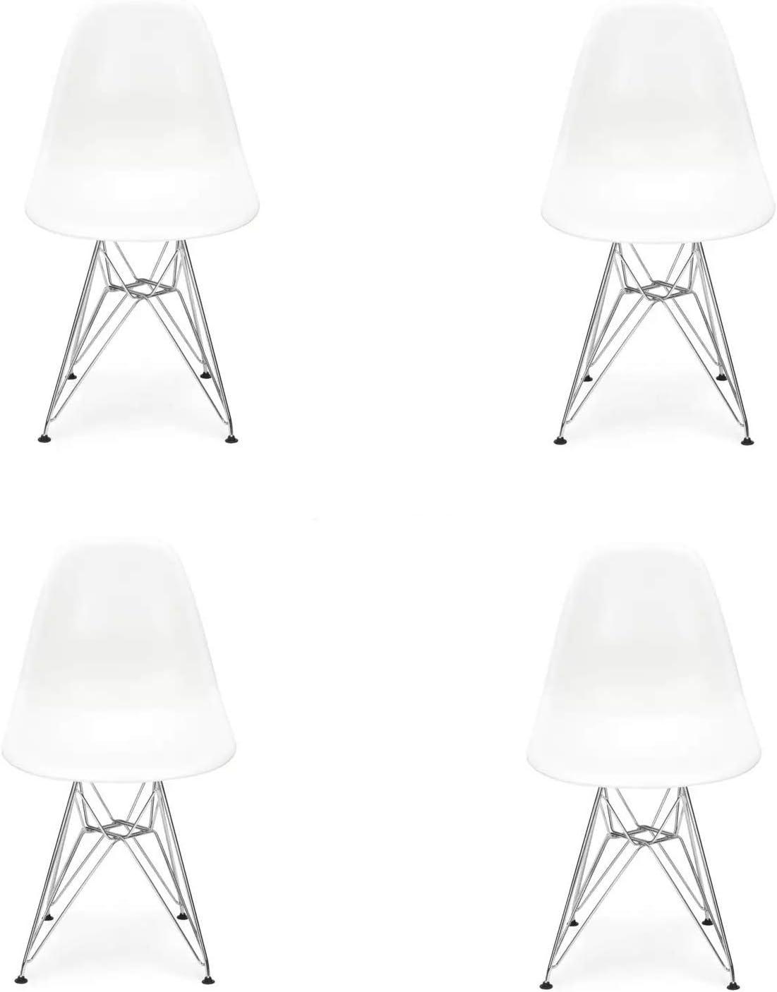 Naturelifestore Lot de 4 Chaise Mid Century Moderne Moulée, Pieds en Métal Style Eiffel, Blanc