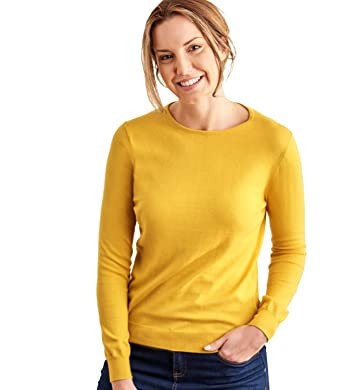 3248a42327d Woolovers Womens Cashmere and Cotton Crew Neck Knitted Sweater Sunflower