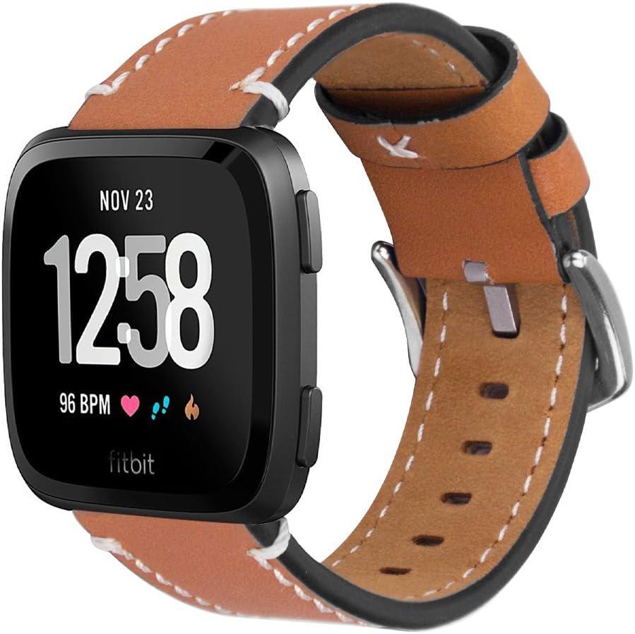 iBazal Correas Compatible con Fitbit Versa/Lite/2 Correa Cuero Bandas de Reemplazo Piel Pulseras Hombres Mujeres Reloj Inteligente Accesorio - Marrón - Pequeño
