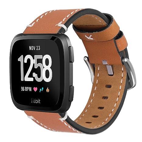 iBazal Fitbit Versa Correa Cuero, Fitbit Versa Pulsera Genuino Piel Banda para Fitbit Versa Fitness