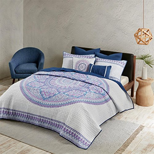 Urban Habitat Coletta King/Cal King Girls Quilt Bedding Set - Purple, Bohemian Medallion – 7 Piece Teen Girl Bedding Quilt Coverlets – 100% Cotton Bed Quilts Quilted Coverlet by Urban Habitat