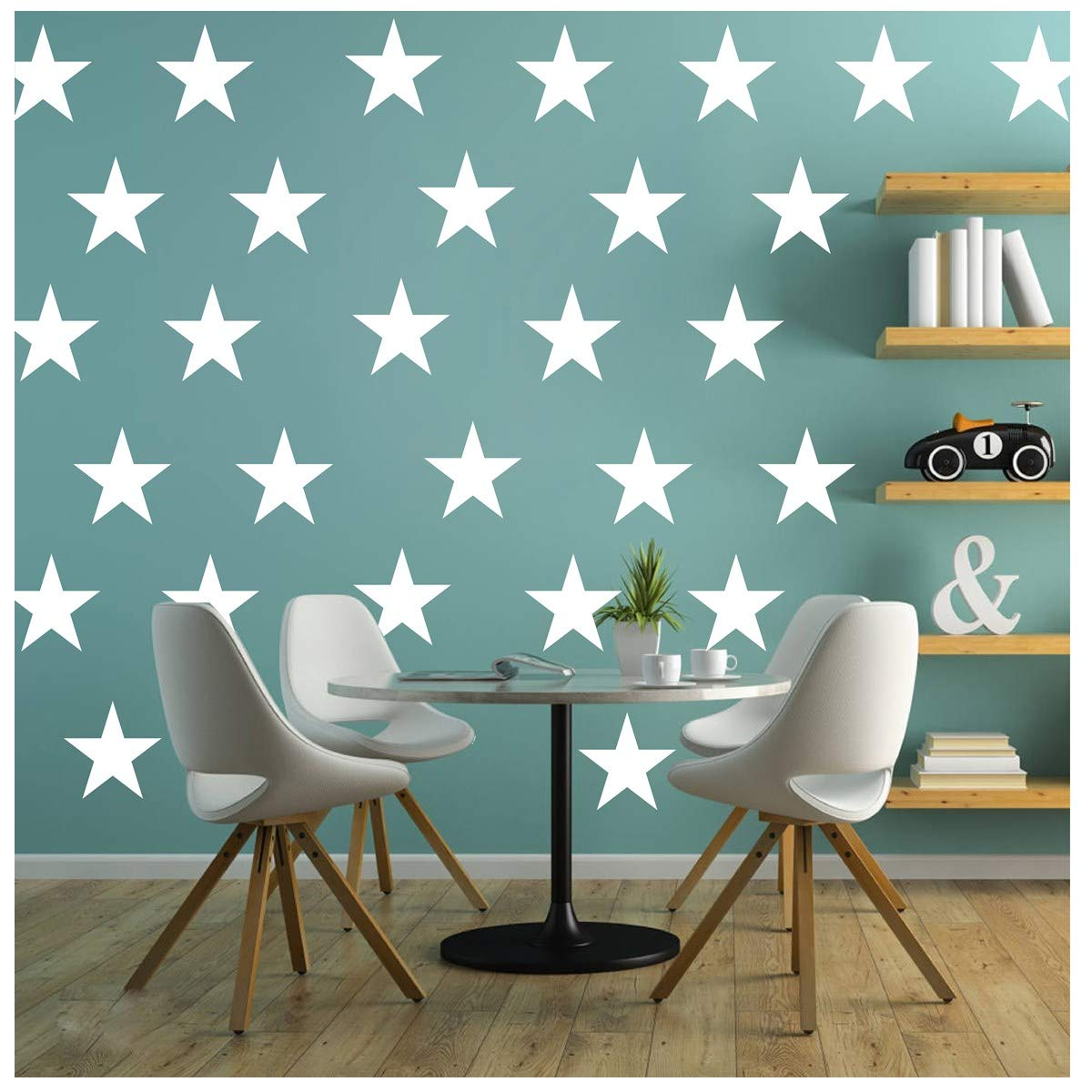 Melissalove 48pcs/Set of Large White Stars Vinyl Wall Decor Stickers DIY White Star Wall Decals Art for Kids,Nursery Room Decor Mural Wallpaper D399 (White)