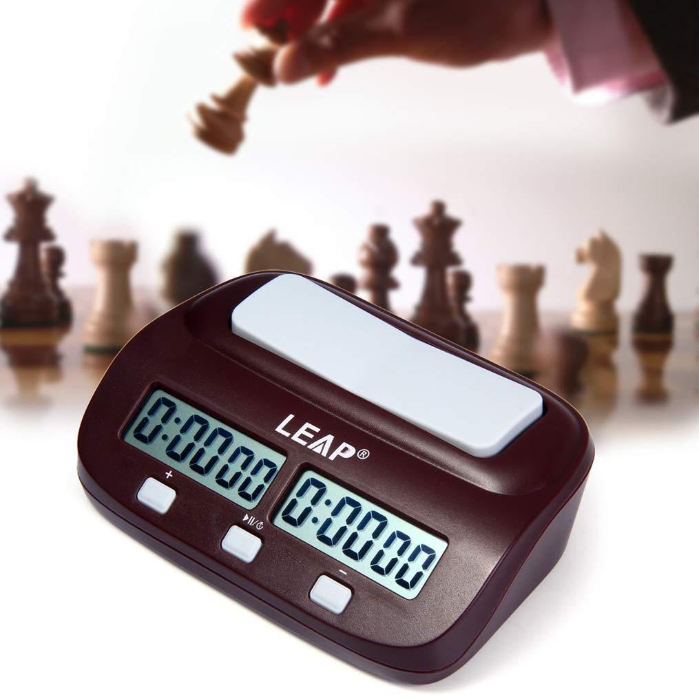Easygou Horloge d/échecs Professionnelle Multifonction num/érique et minuterie de Jeu avec Bonus et Retard Medium Rouge vin