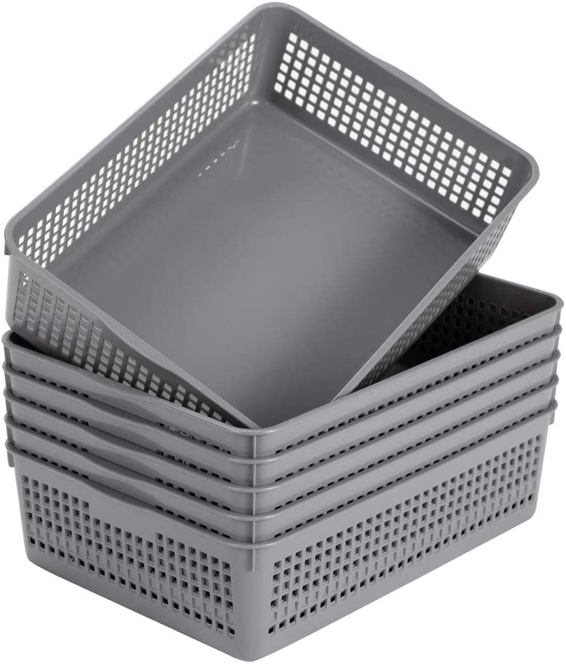 Eslite Plastic Organizing Baskets/Storage Tray Baskets,6-Pack,Gray