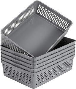 Eslite Plastic Organizing Baskets/Storage Tray Baskets,6-Pack,Gray