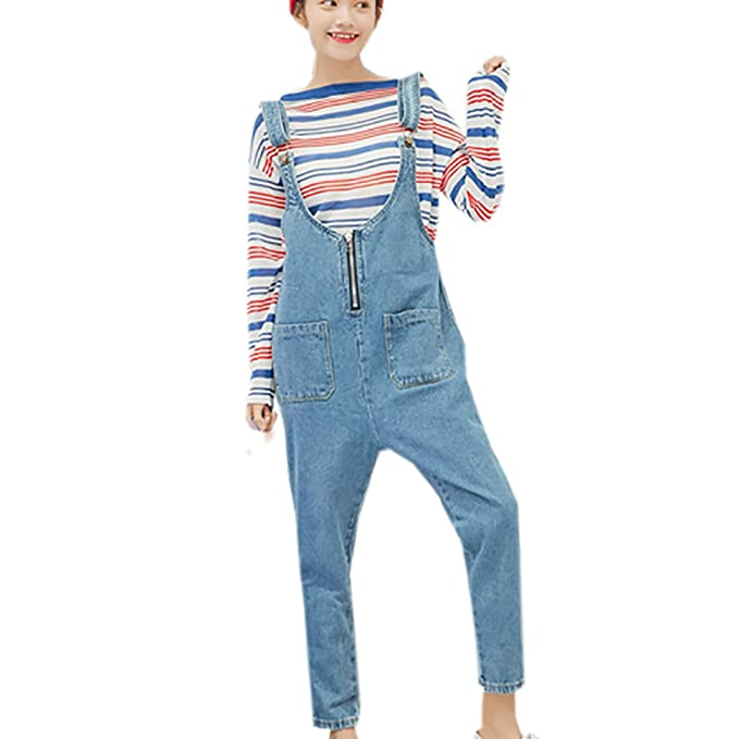 9f6cf359ed83 Partiss Women s Classic Overall Denim Jumpsuit Sleeveless Zipper Romper  With Pockets(Chinese S