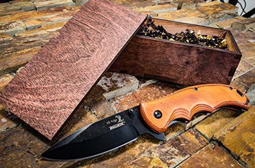 Wooden Box & Pocket Knives- Wood Gift Boxes, Boyfriend Knife or Groomsmen Set, Hunting, Husband or Man Wedding Gifts- Sharpened Folding Blade, Spring Assisted Open w/ Clip 004BW (Large Tanto Point Plain)