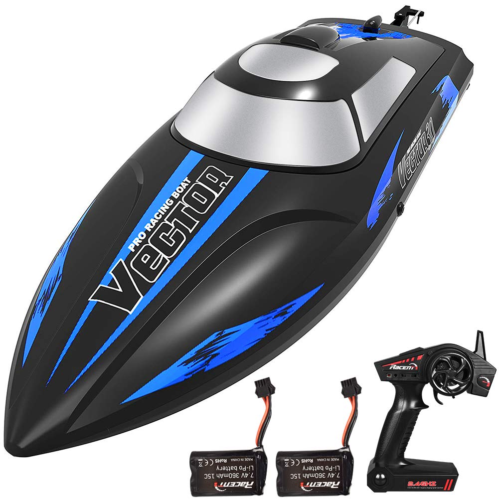 YIZI Remote Control Boat for Pools & Lakes - Udi001 Venom Fast RC Boat for Kids & Adults, Self Righting Remote Controlled Boat W/Extra Battery