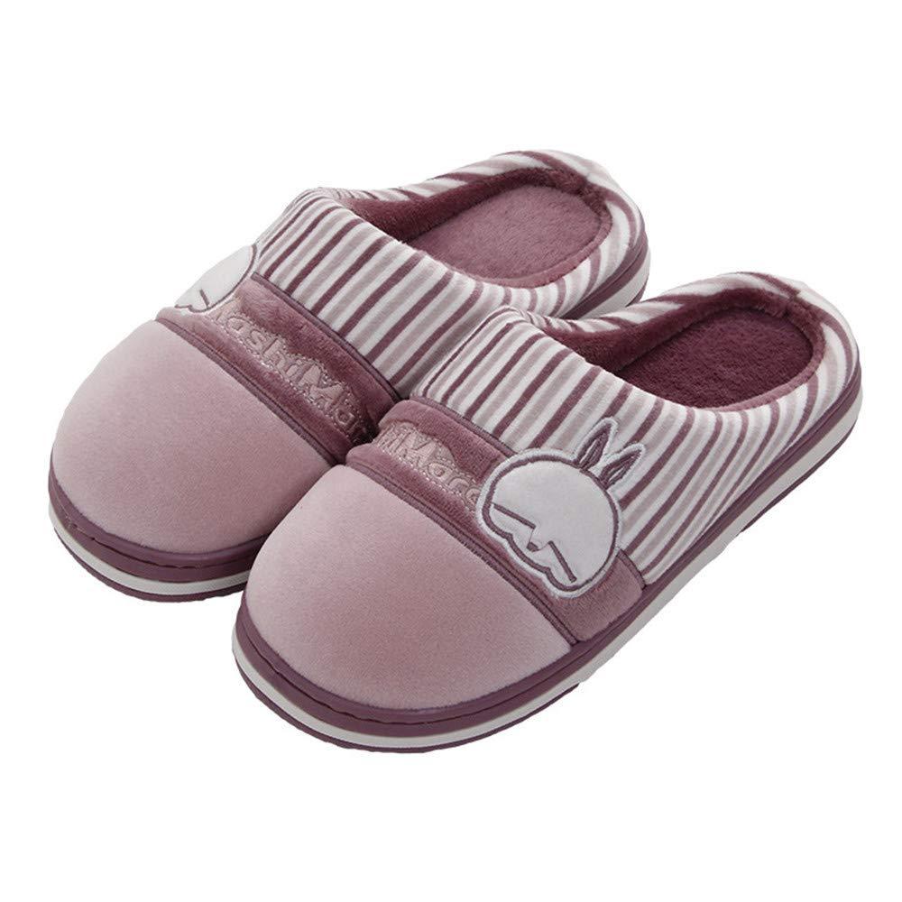 SLIPPERSXSJ Pantoufles de Coton Hiver Femme Nouvelle Maison Mignonne intérieure Pantoufles ménage antidérapant Fond épais Dessin animé Chaud Mois Chaussures