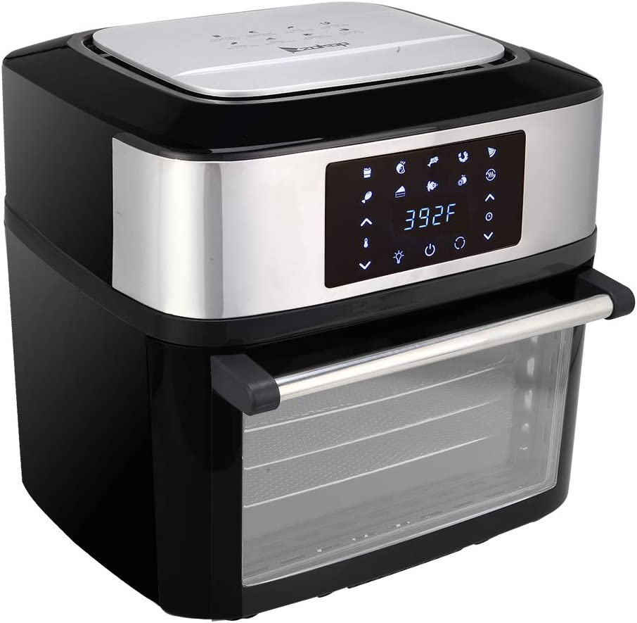 ZOKOP Power Air Fryer XL,16.9qt 1800W All-in-One Family Size Air Fryer Countertop Oven,Rotisserie, Digital LED Display,Black