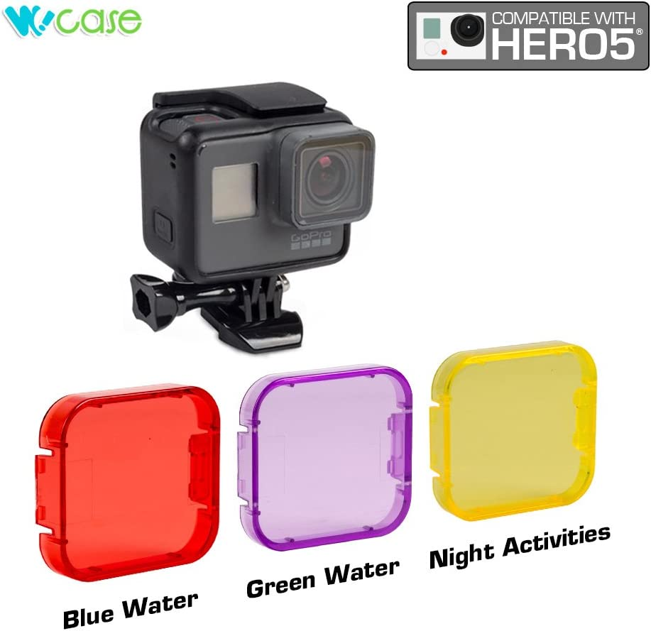 for Scuba Diving Snorkeling and Water Sports Red, Purple, Yellow?Not Compatible with Use of Housing WoCase Lens Filter Set for GoPro HERO5 Cameras