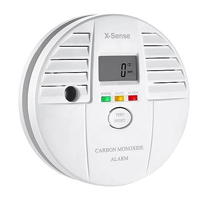 X-Sense CO05S - Detector monóxido de carbono alarma CO, pantalla digital, batería