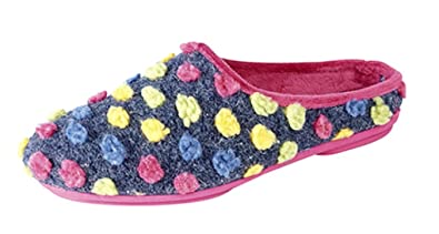 Ladies  AMY  Spotted Knit Mule Slippers with Rubber Sole Blue size 3 UK